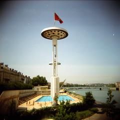 (rougerouge) Tags: blue red 120 film analog holga lyon flag scan swimmingpool rhone