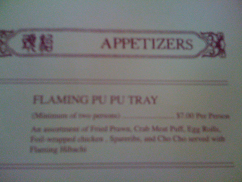 A Pu pu platter, pu-pu platter or pupu platter is a tray of American Chinese cuisine consisting of an assortment of small meat and seafood appetizers - http://en.wikipedia.org/wiki/Pu_pu_platter