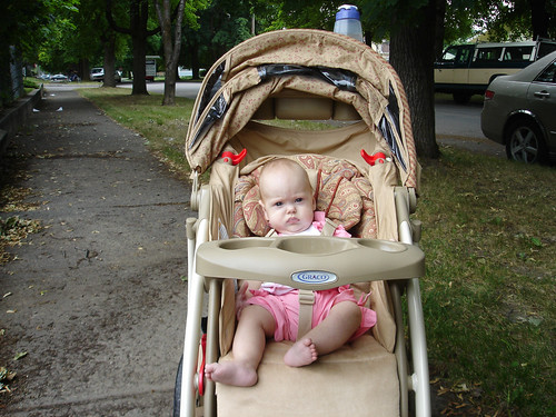 First time in the stroller without the car seat
