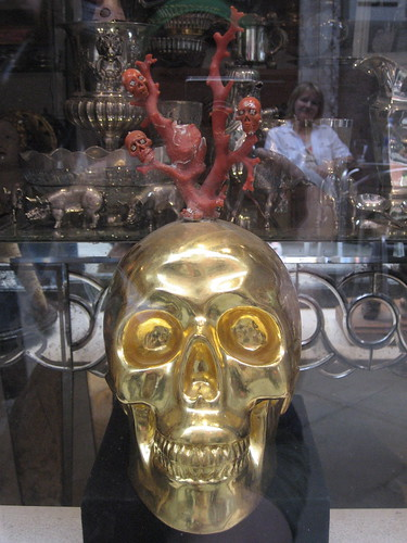 skull in a gallery window in Venice (as a bonus, it even has a skull tree growing from it)