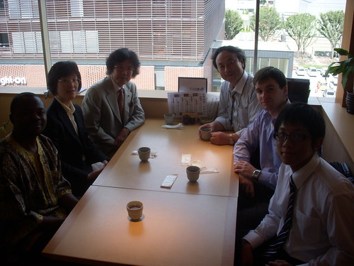 On the other side of the table: Thet Oohan (Masters Student from Myanmar); Adam Pedrycz (PhD student from Canada); Prof Kaoru Hirota (Our supervisor)