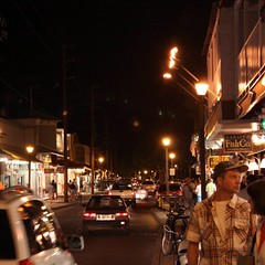 Nighttime activity along Lahaina's Front Street