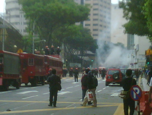 FRU firing water cannons at Sogo by The Edge Malaysia.