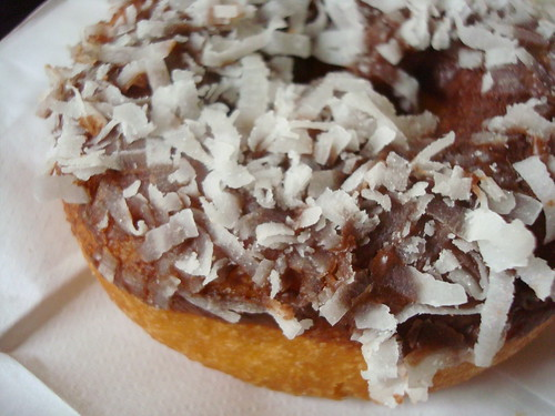 Chocolate Frosted w/coconut, from Chuck's Donuts, Renton