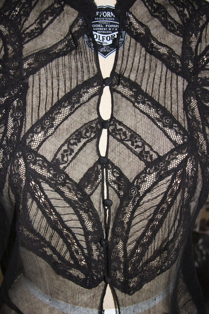 Black lace shirt close up front