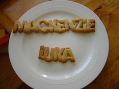 Name Biscuits (LittlePrincessCupcake) Tags: girls 2 two baby white cookies table name letters plate sugar mackenzie biscuits sliver luka littleprincesscupcake cacous