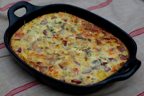 Sausage, Onion, Sweet Pepper and Tomato Frittata by Eve Fox, Garden of Eating blog