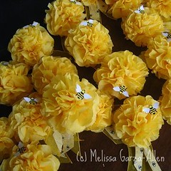 Tissue Paper Flower Corsages (Mel Garza) Tags: birthday flowers decorations party yellow paper bees tissue corsages