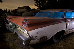 Air Conditioned Fishbowl (Lost America) Tags: lightpainting abandoned night fullmoon junkyard super88 1959 oldsmobile nocturnes thebigm