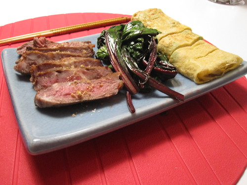 Steak, beet greens and tamagoyaki