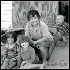 Ziggy and the Big Kids (xtheowl) Tags: bw kids sisters square brothers september 2009 ziggy 36514 sibllings flickrchallengegroup flickrchallengewinner 36514bw 36514daysold