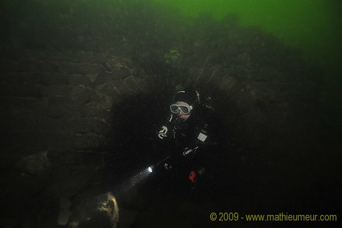 Diver exploring the Great Wall of China underwater