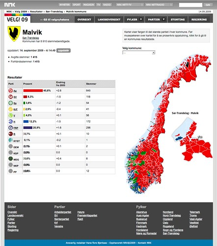 NRK - Valg09 - Kommuneoversikt