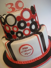 Ryan's 30th Birthday Cake (Stephanie (Cake Fixation)) Tags: seattle cake stripes polkadots 30thbirthday redmond fondant cakefixation