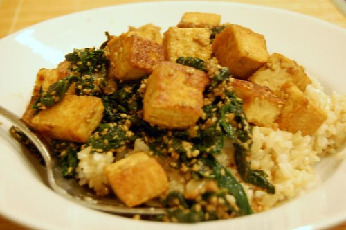 tofu with ginger and kale