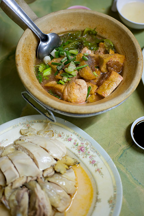 A broth of tofu and fermented rice and 'drunken' chicken at Piang Kee, a Hakka restaurant in Bangkok's Chinatown