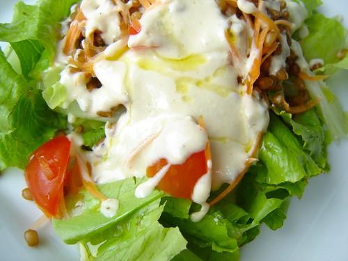 Salada de trigo em grão com molho de tahine e iogurte