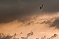 Stallions in a Storm (Huw Hopkins LRPS Photography) Tags: old sunset summer sky orange june clouds photography evening flying north machine frankie collection airshow company american mustang warden shuttleworth warbirds dday huw hopkins hardwick 6th janie ferocious p51 the p51d ofmc 4473149 4511518