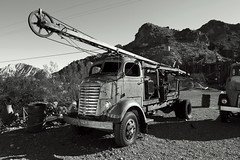1947 GMC COE (Curtis Gregory Perry) Tags: 1947 gmc coe cab over well puller rig pulling eldorado canyon nevada drilling old rusty truck engine desert ghost town nikon d800e black white bw monochrome blackandwhite decay ruin abandoned