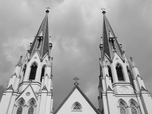 Spires of the Cathedral of St. John The Baptist, Savannah.