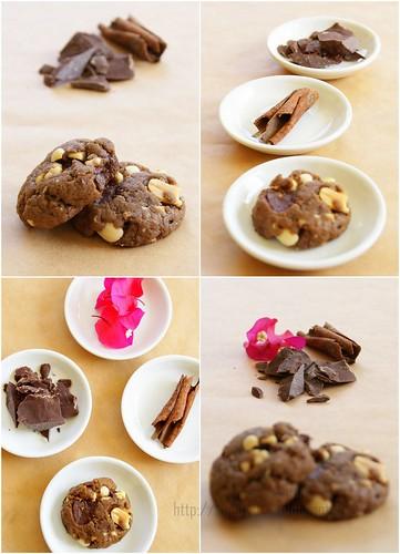 Chunky Peanuts and Chocolate Cinnamon Cookies