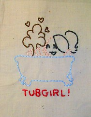 Tubgirl (Handmade Stuffs) Tags: silly handmade embroidery horror memes tubgirl