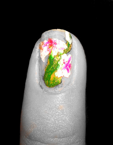 Orchid nail art flower design