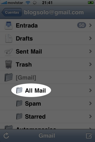 Captura de iPhone con All Mail remarcado