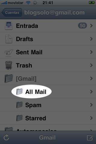 Captura de iPhone con All Mail remarcado