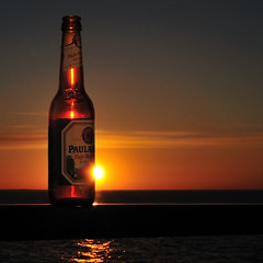Paulaner Hefe-Weibier Naturtrb (christian.senger) Tags: travel light sunset red sky sun water beer silhouette yellow backlight digital geotagged outdoors gold bottle nikon europe russia explore frontpage paulaner d300 whitenights onega lakeonega nikoncapturenx2 christian_senger:year=2009 osm:way=31170958