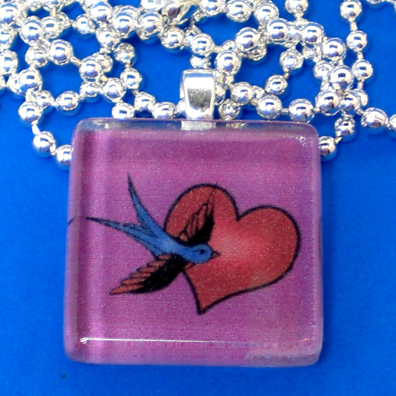 Love Bird Tattoo Glass Pendant