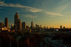ATL SKYLINE SUNSET (MALALINA43) Tags: city blue atlanta sunset sky sun set skyline clouds canon buildings downtown traffic blueskies cityskyline xti 400d