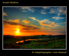 Sunset Meadows (Irishphotographer) Tags: sunset sun art nature colors sunshine clouds hills valley rivers hdr kinkade downpatrick beautifulireland imagesofireland sunsetmeadows irishphotographer irishcountryscene thecoyle breathtakingphotosofnature sunsetinthemeadow beautifulirelandcalander wwwdoublevisionimageswebscom