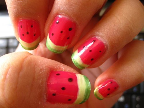 Fruit watermelon nail design