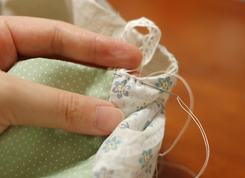 How to make a patchwork cube drawstring bag 19