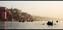 Varanasi - Hazy Morning on the Ganges (lubow) Tags: morning light panorama india tourism silhouette boat morninglight am haze ancient bath worship soft glow religion pray row holy funeral wash varanasi bathe rowing tradition cinematic hindu crowds pilgrim ganga crowded ganges oars cremation ghats pilgrims ghat bustling crods beneres