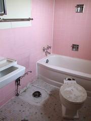 Pink Bathroom (Travis S.) Tags: pink house alaska tile bathroom town 60s floor sink pastel toilet tub bathtub removed aleutians adak cmwd
