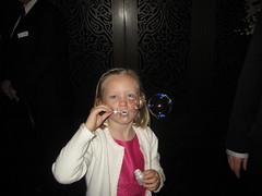 Christy blowing bubbles