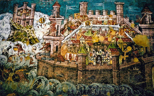 The 1453 Siege of Constantinople - External Mural (1537)  @  Moldovita Convent Romania por londonconstant.