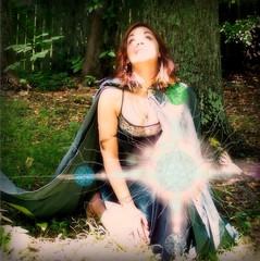 Brigid  Keeper or the  light Elemental Magic earth, fire, wind ,and water (leespicedragon) Tags: green art halloween nature beautiful cool witch wizard magic cloak pentacle elemental