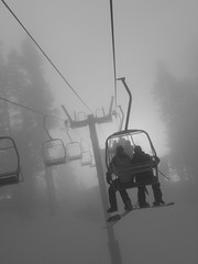 foggy chairlift (Heather Chapin Photography) Tags: morning mellow snowboarders cooperspur doublechair