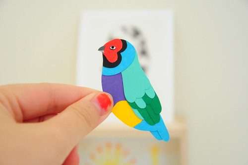 Gouldian Finch Brooch