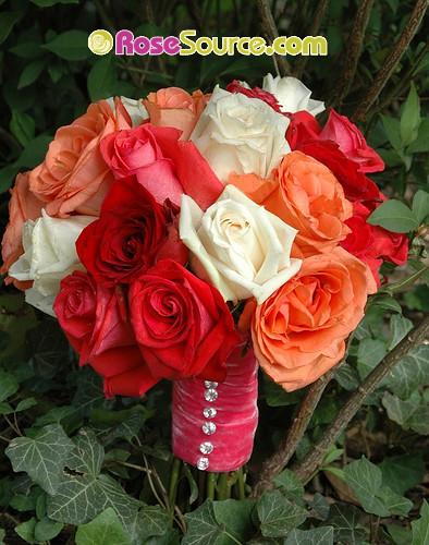 salmon themed wedding bouquet with velvet ribbon, impulse roses, polo roses