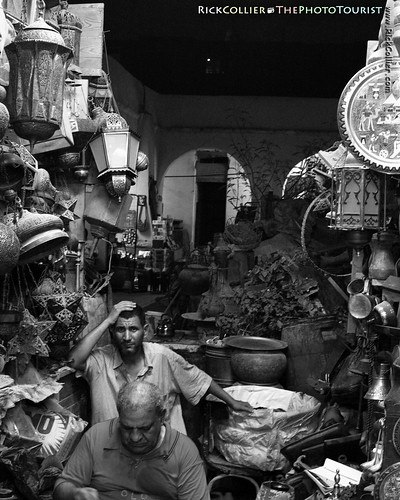 Brass crafters show their fatigue at the end of a very long day in their shop in the Khan el-Khalili bazaar in Cairo, Egypt (photo release available).