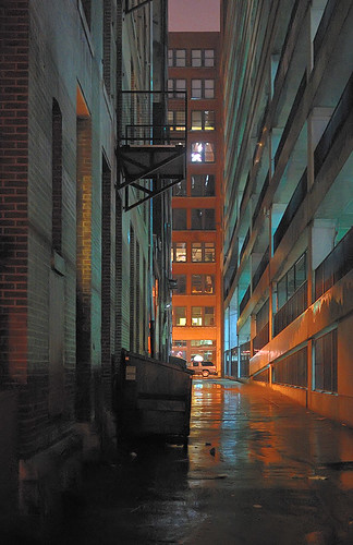 Downtown Saint Louis, Missouri, USA - alley at night in the rain