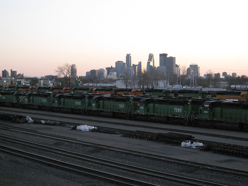 Train Yard and Minneapolis Skyline from St. Anthony Parkway