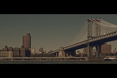 """Goddamn FBI don't respect nothin'"" (- Loomax -) Tags: street bridge urban newyork sunshine skyline brooklyn skyscrapers manhattan manhattanbridge cinematic warmcolors cinemascope builings"