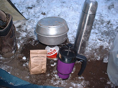 "Some Fresh ""Sisters Coffee"" anyone? - The folks at Sisters Coffee like to prepare it in the great outdoors."