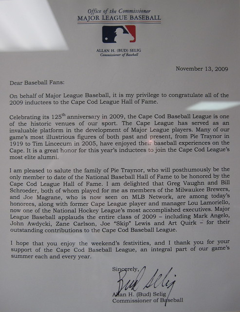 2009 letter from Bud Selig