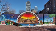 Railroad mural, community artists, 2014 - David Crombie Park, St Lawrence Neighbourhood, Toronto (edk7) Tags: olympuspenliteepl5 edk7 2017 canada ontario toronto stlawrencemarketneighbourhood esplanade davidcrombiepark basketballcourtbackstop mural publicart railroadtheme condohighrise architecture building structure distilleryhistoricdistrictbackground